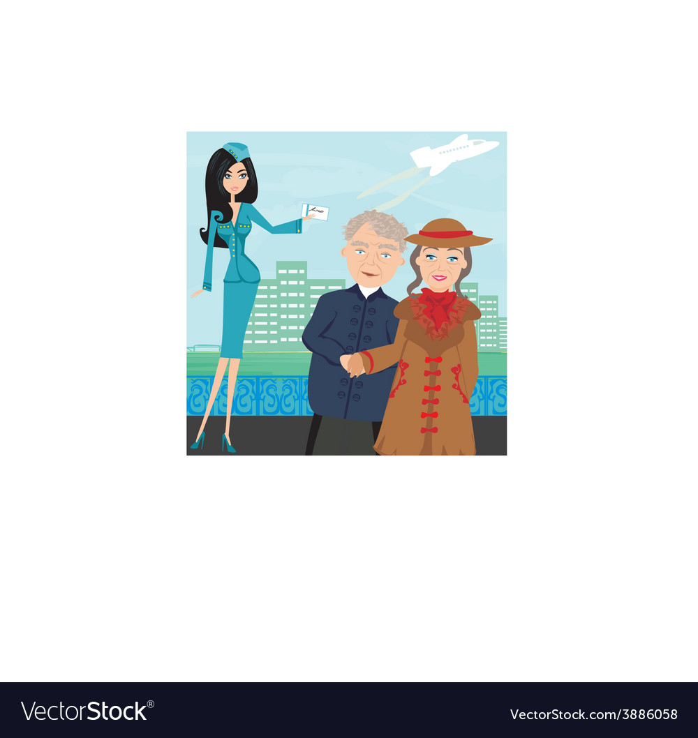 Seniors couple in the airport vector | Price: 1 Credit (USD $1)