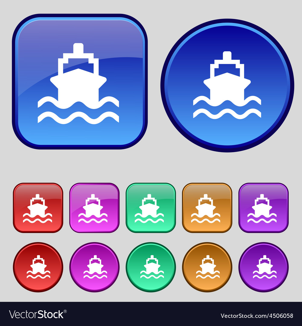 Ship icon sign a set of twelve vintage buttons for vector | Price: 1 Credit (USD $1)