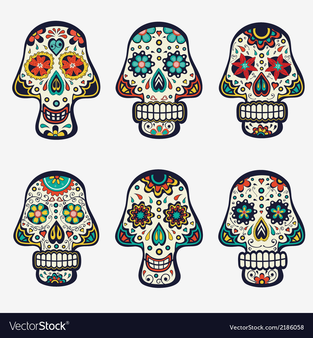 Sugar skulls collection vector | Price: 1 Credit (USD $1)
