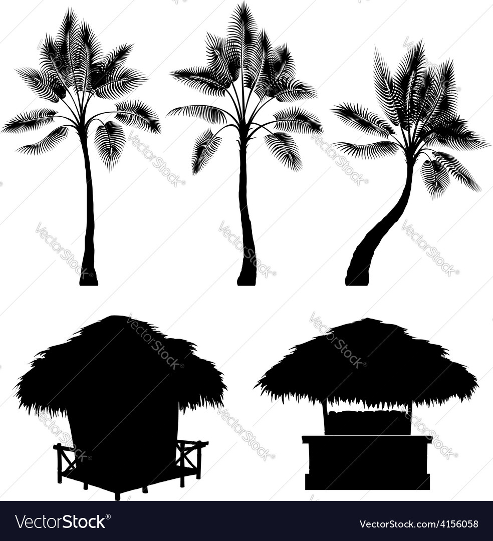 Tropical bungalow and palm isolated drawin vector | Price: 1 Credit (USD $1)