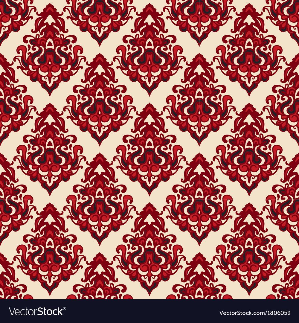 Damask seamless pattern oriental motif vector | Price: 1 Credit (USD $1)