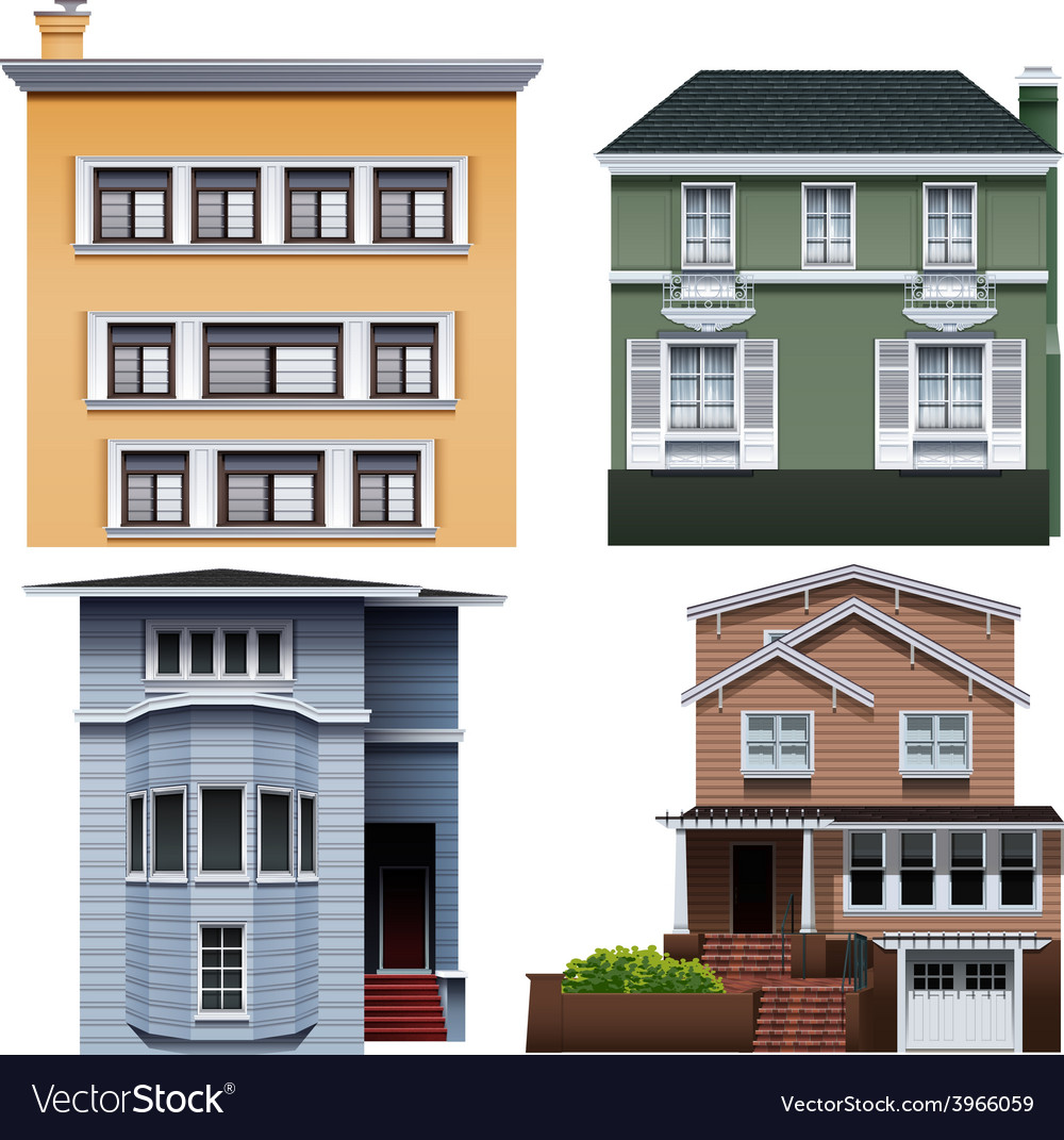 Four buildings vector | Price: 1 Credit (USD $1)