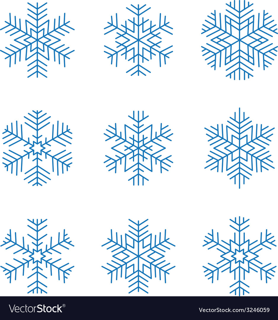 Graphic design snowflakes set vector | Price: 1 Credit (USD $1)