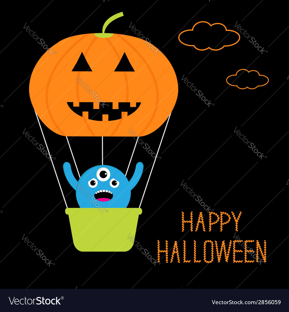 Pumpkin hot air balloon with cute monster vector | Price: 1 Credit (USD $1)