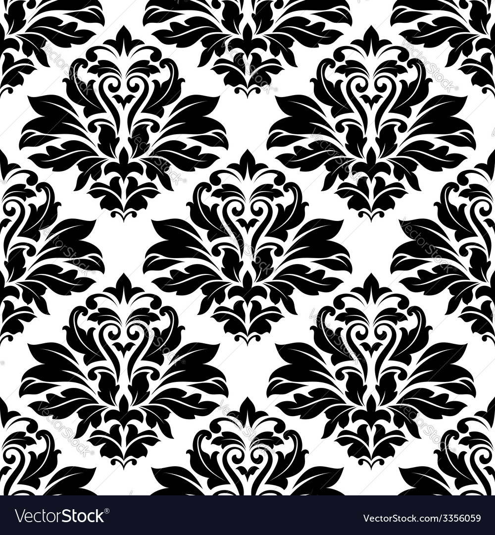 Seamless damask black floral background pattern vector | Price: 1 Credit (USD $1)