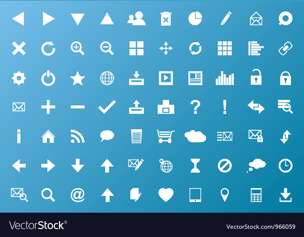 Set of white navigation web icons vector | Price: 1 Credit (USD $1)