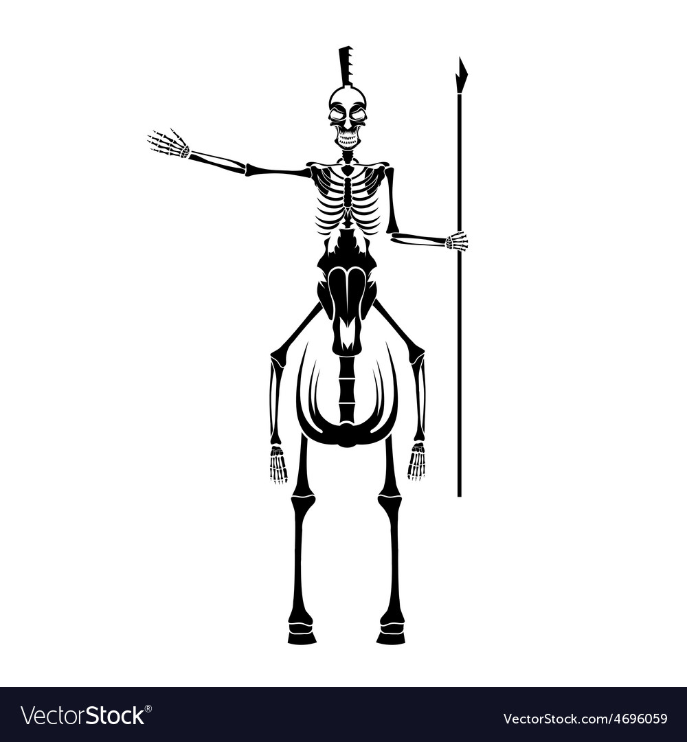 Skeleton in spartan helmet with spear on the horse vector | Price: 1 Credit (USD $1)