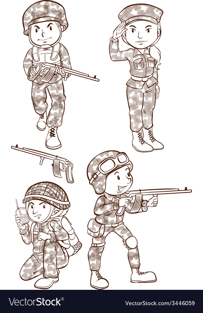 Soldiers with guns vector | Price: 3 Credit (USD $3)