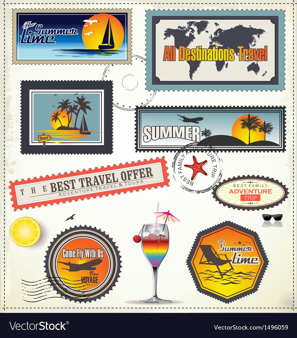 Travel post stamp vector | Price: 3 Credit (USD $3)