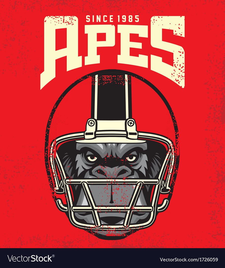 Vintage ape football player vector | Price: 3 Credit (USD $3)