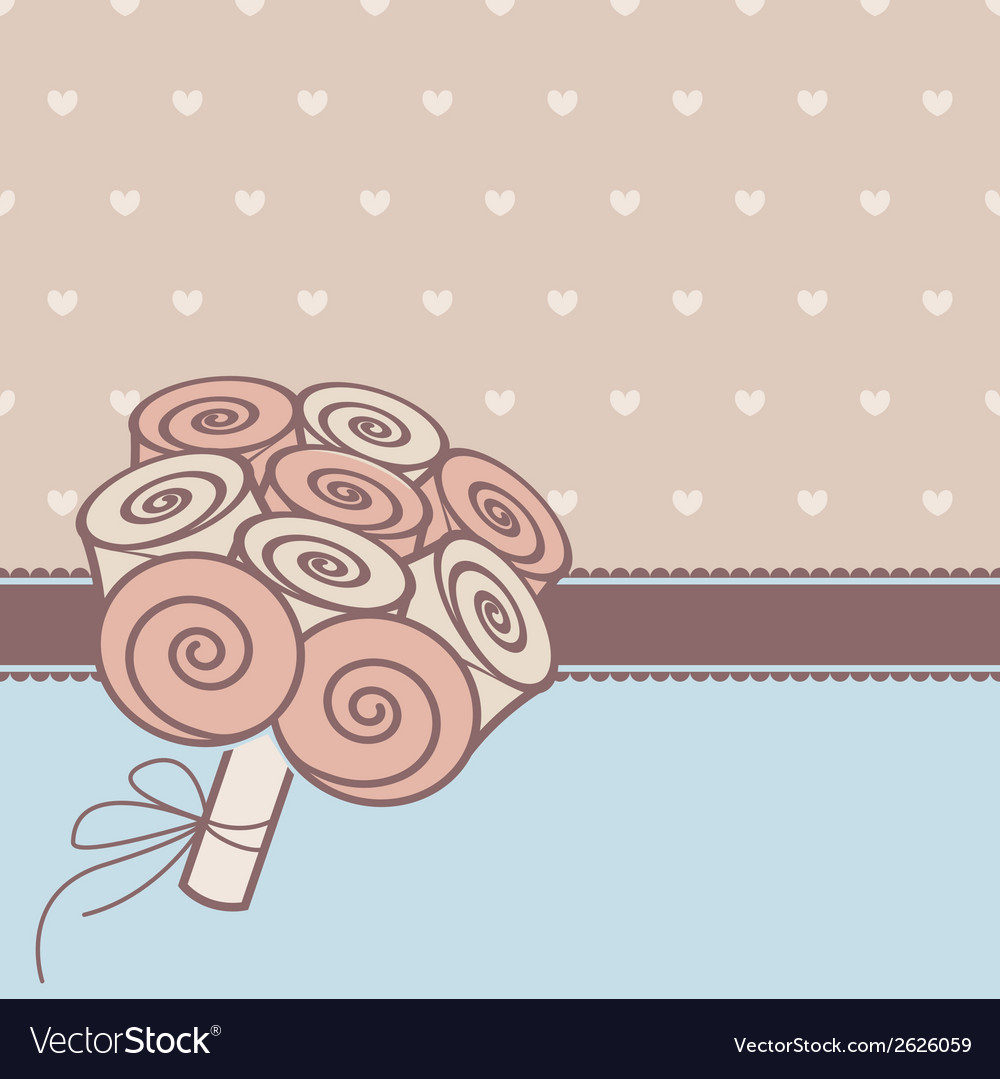 Vintage card with bunch of roses vector | Price: 1 Credit (USD $1)