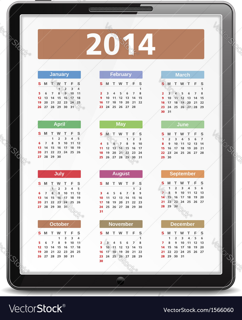 2014 calendar in tablet pc vector | Price: 1 Credit (USD $1)