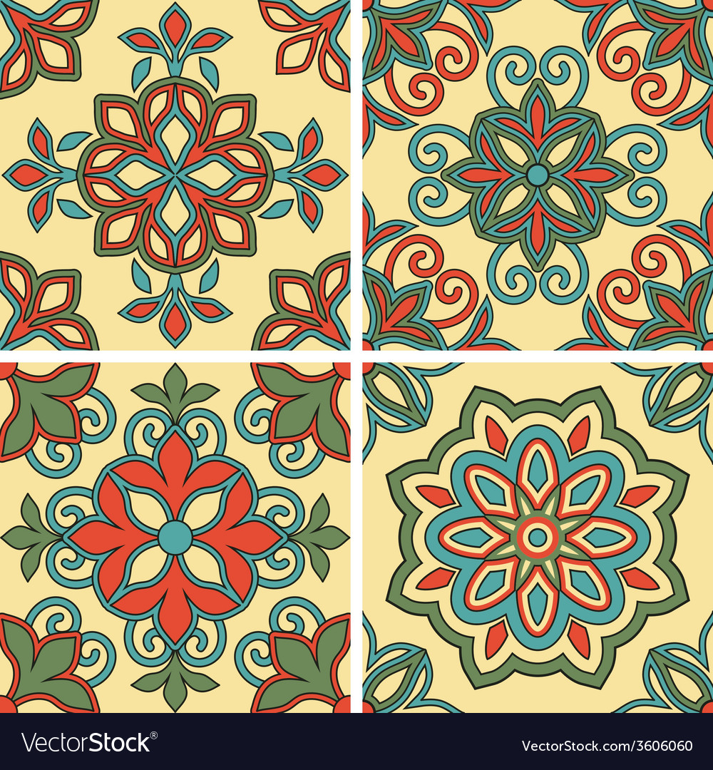 4 seamless tile patterns vector | Price: 1 Credit (USD $1)