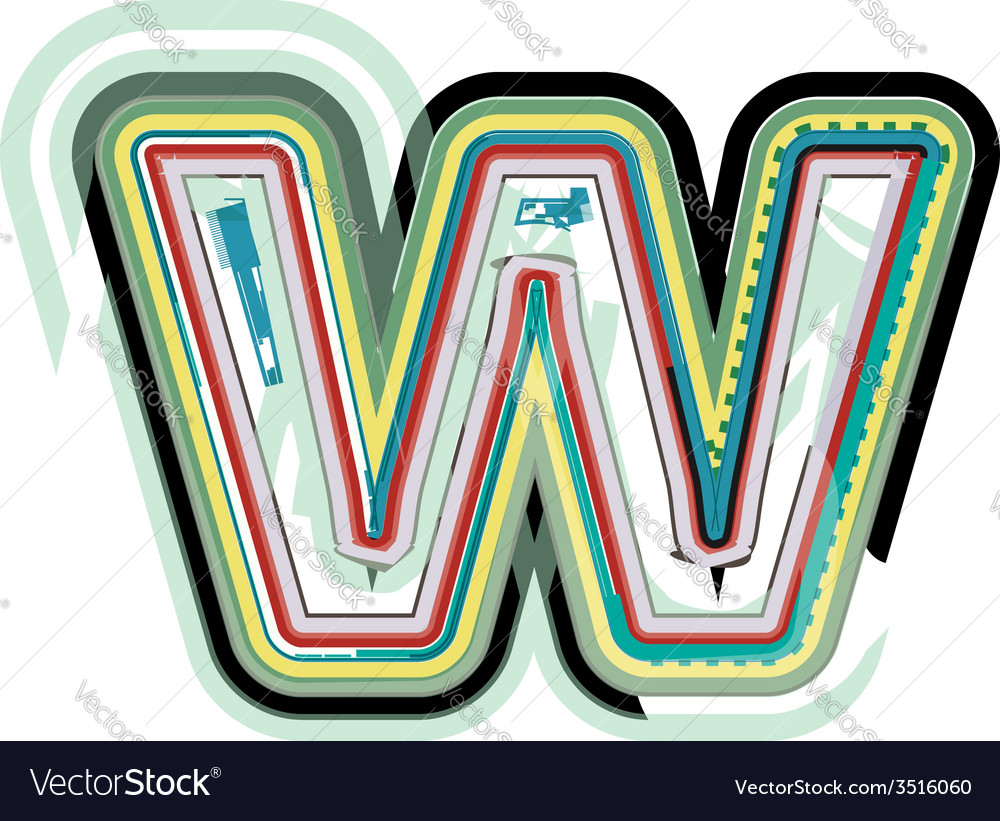 Abstract colorful letter w vector | Price: 1 Credit (USD $1)
