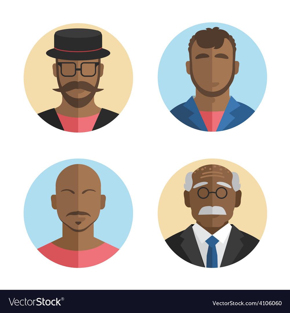 Flat design african american men vector | Price: 1 Credit (USD $1)
