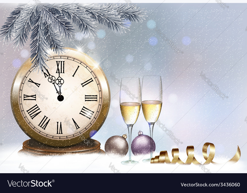 Holiday retro background with champagne glasses vector | Price: 3 Credit (USD $3)