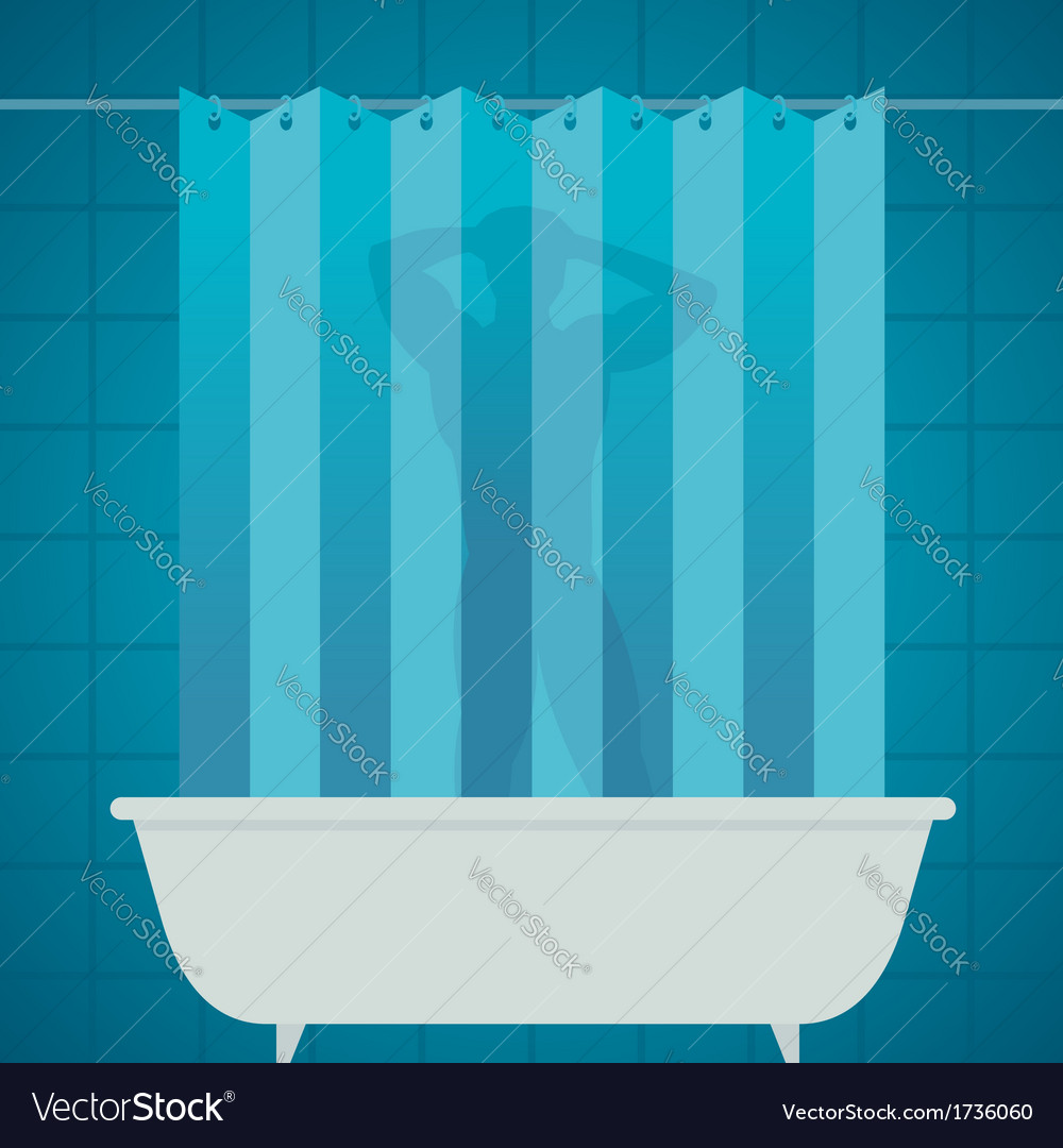 Man silhouetter in shower bathing bathroom vector | Price: 1 Credit (USD $1)