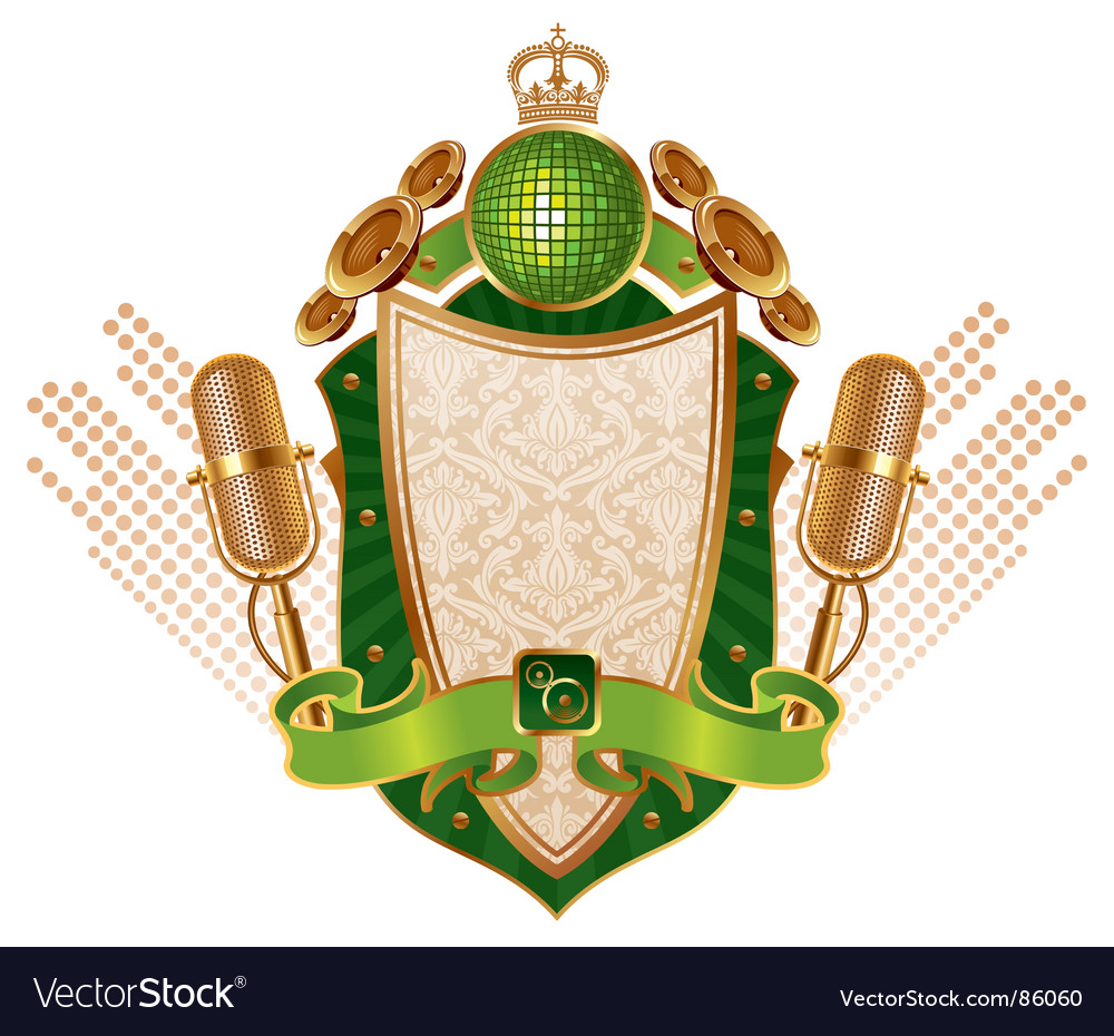 Musical heraldic shield vector | Price: 1 Credit (USD $1)