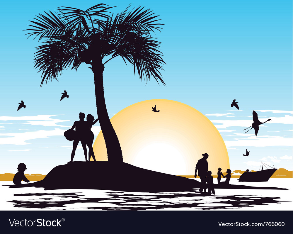 Paradise on the island vector | Price: 1 Credit (USD $1)