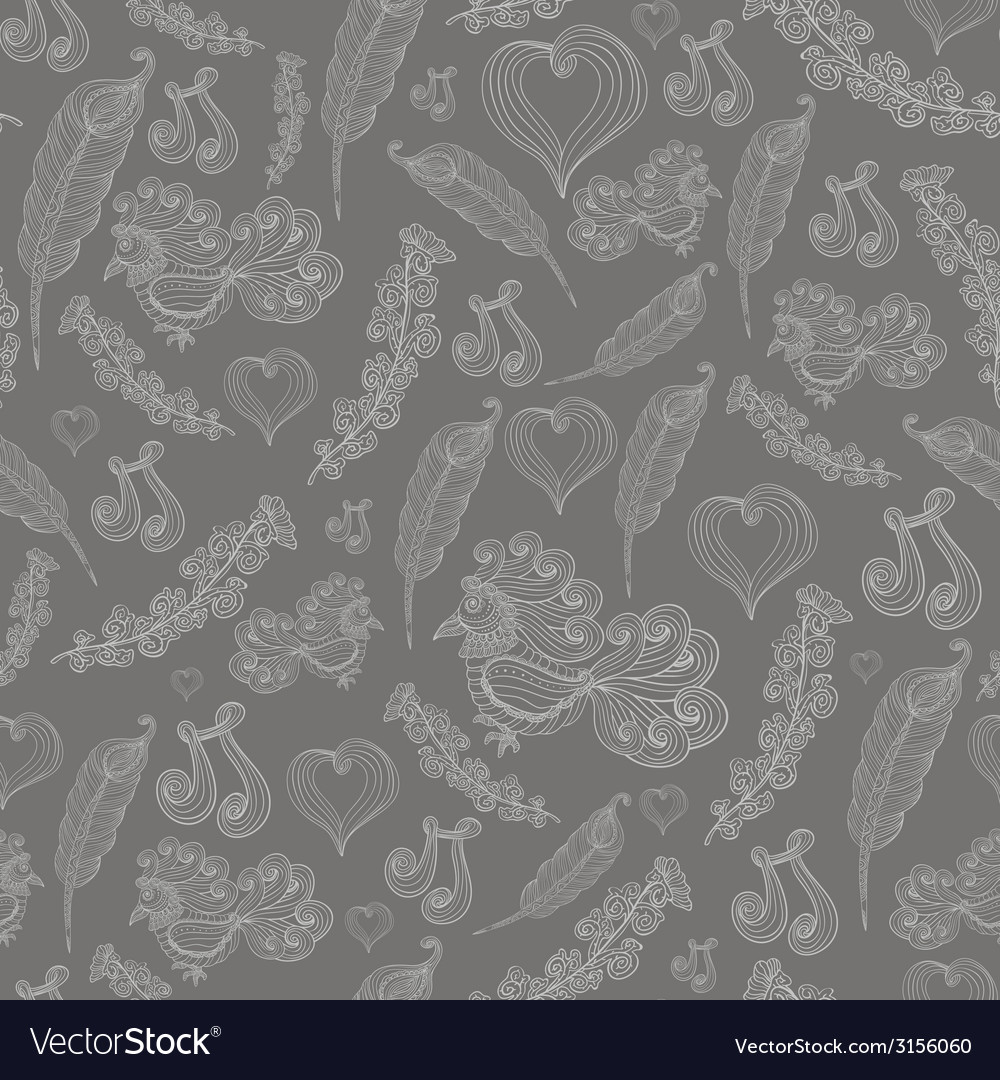 Seamless abstract pattern with grey bird of vector | Price: 1 Credit (USD $1)