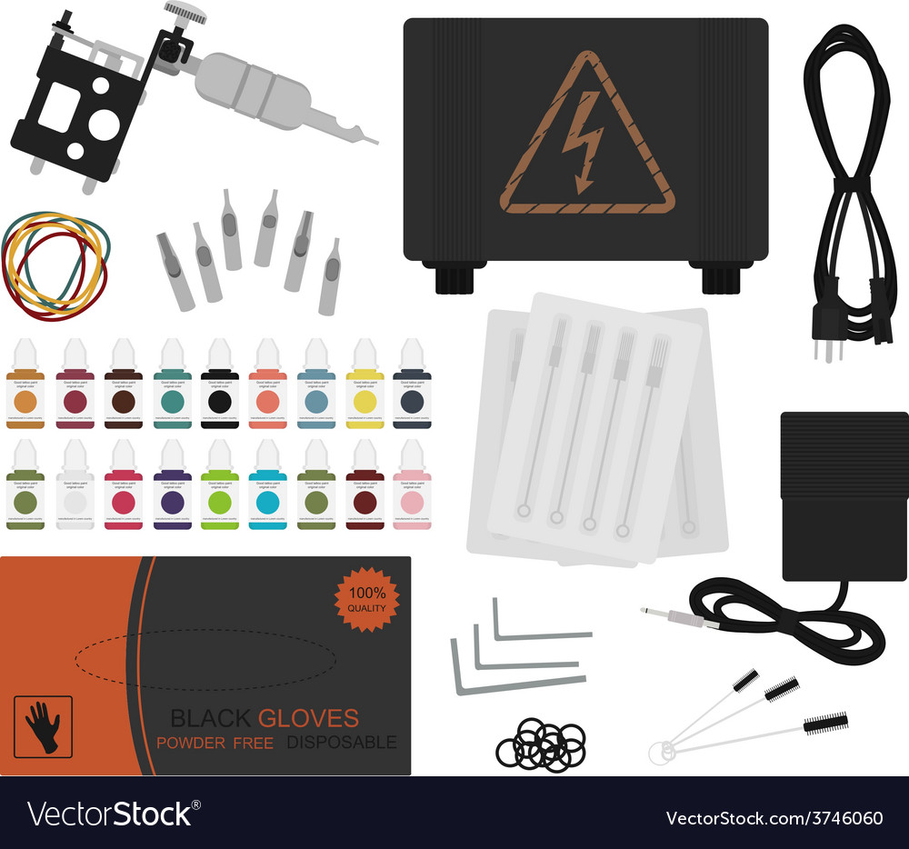 Set of professional tattoo equipment no outline vector | Price: 1 Credit (USD $1)