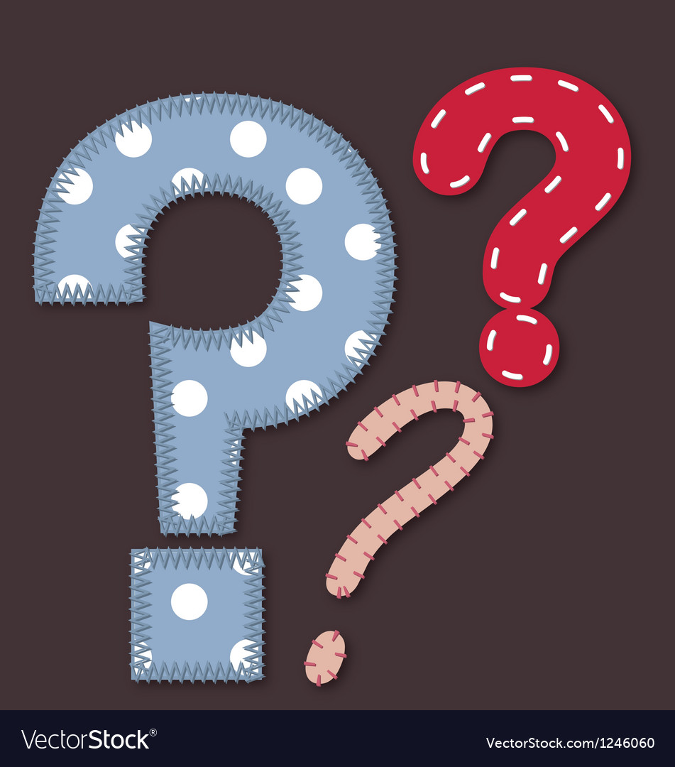 Set of stitched font - question mark vector | Price: 1 Credit (USD $1)