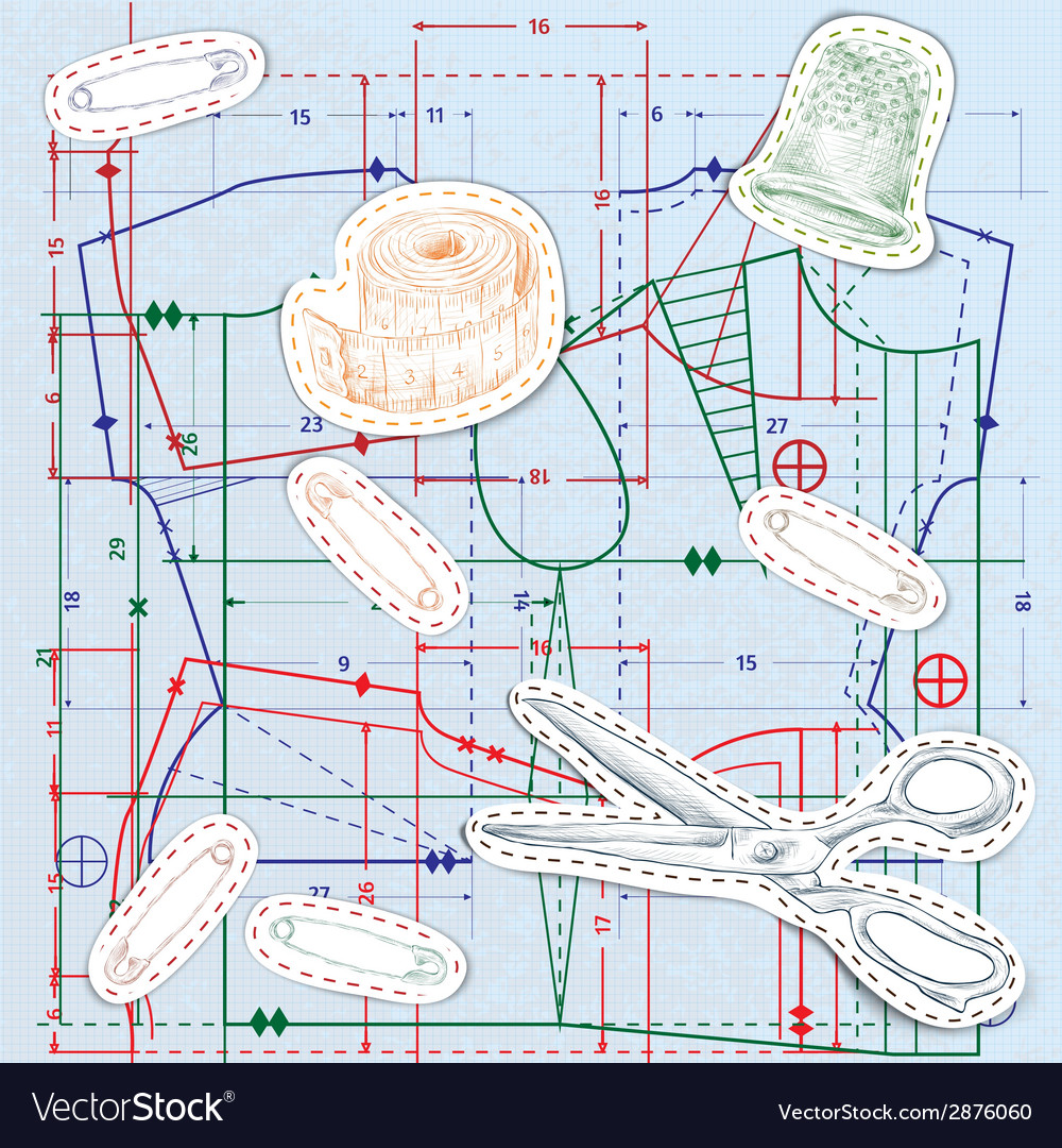Sewing sketch seamless pattern vector | Price: 1 Credit (USD $1)