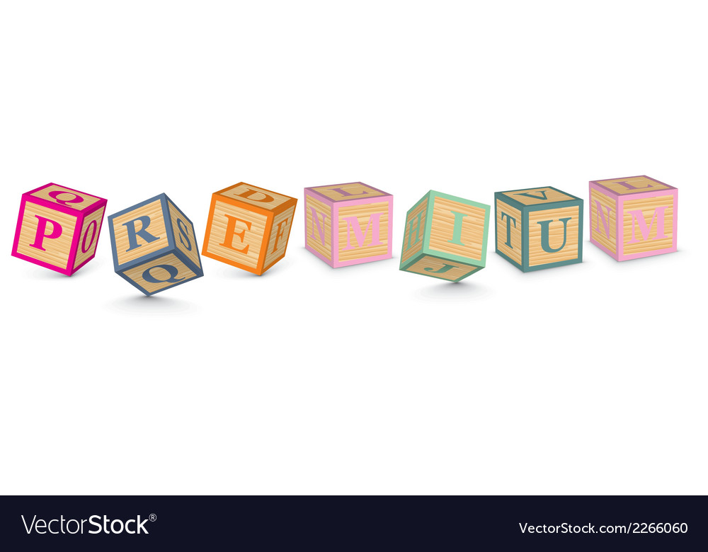 Word premium written with alphabet blocks vector | Price: 1 Credit (USD $1)