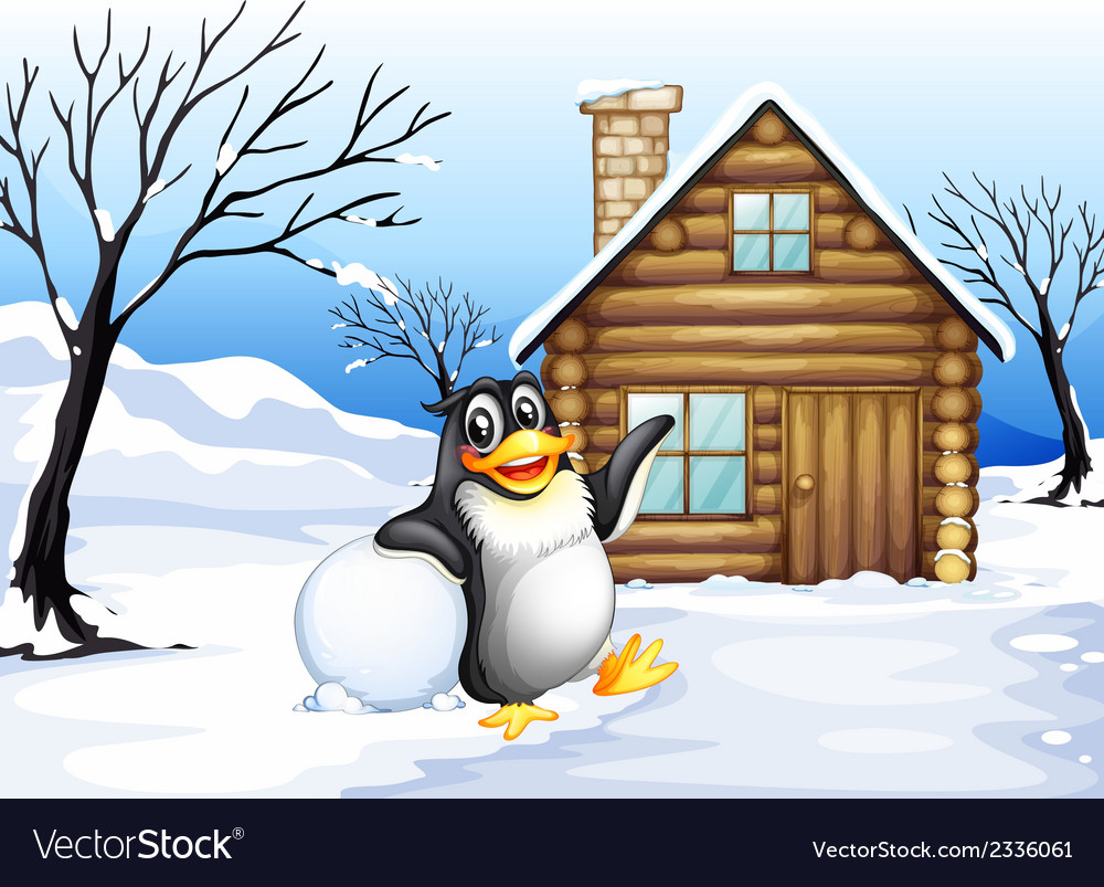 A penguin outside the house vector | Price: 3 Credit (USD $3)