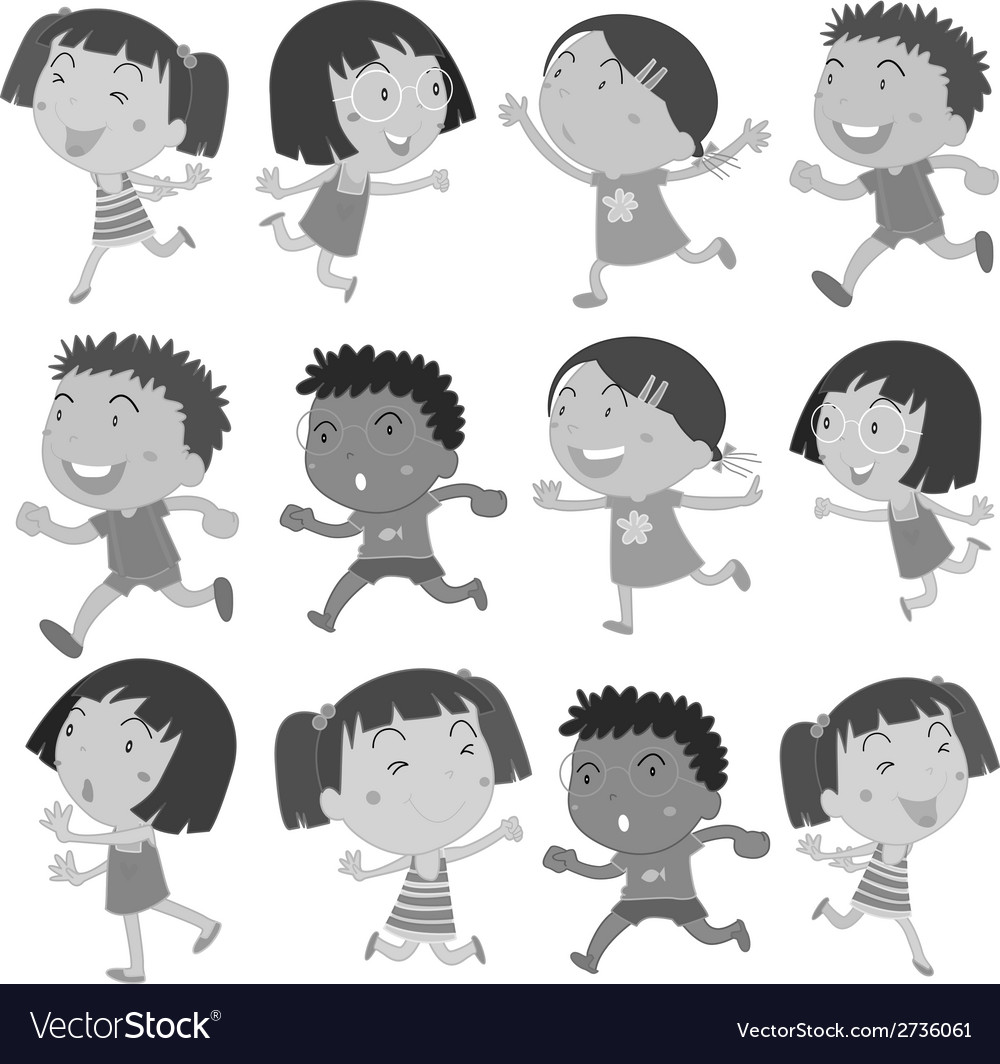 Boys and girls movements vector | Price: 1 Credit (USD $1)