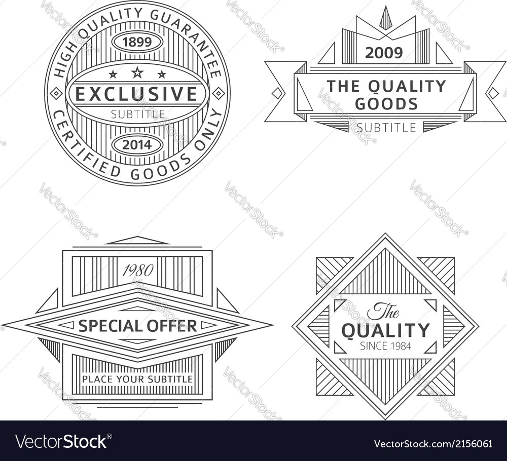Collection of retro outline vintage style labels vector | Price: 1 Credit (USD $1)