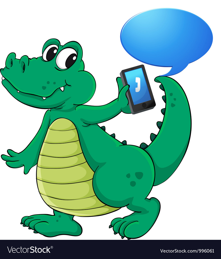 Crocodile with cell phone vector | Price: 3 Credit (USD $3)