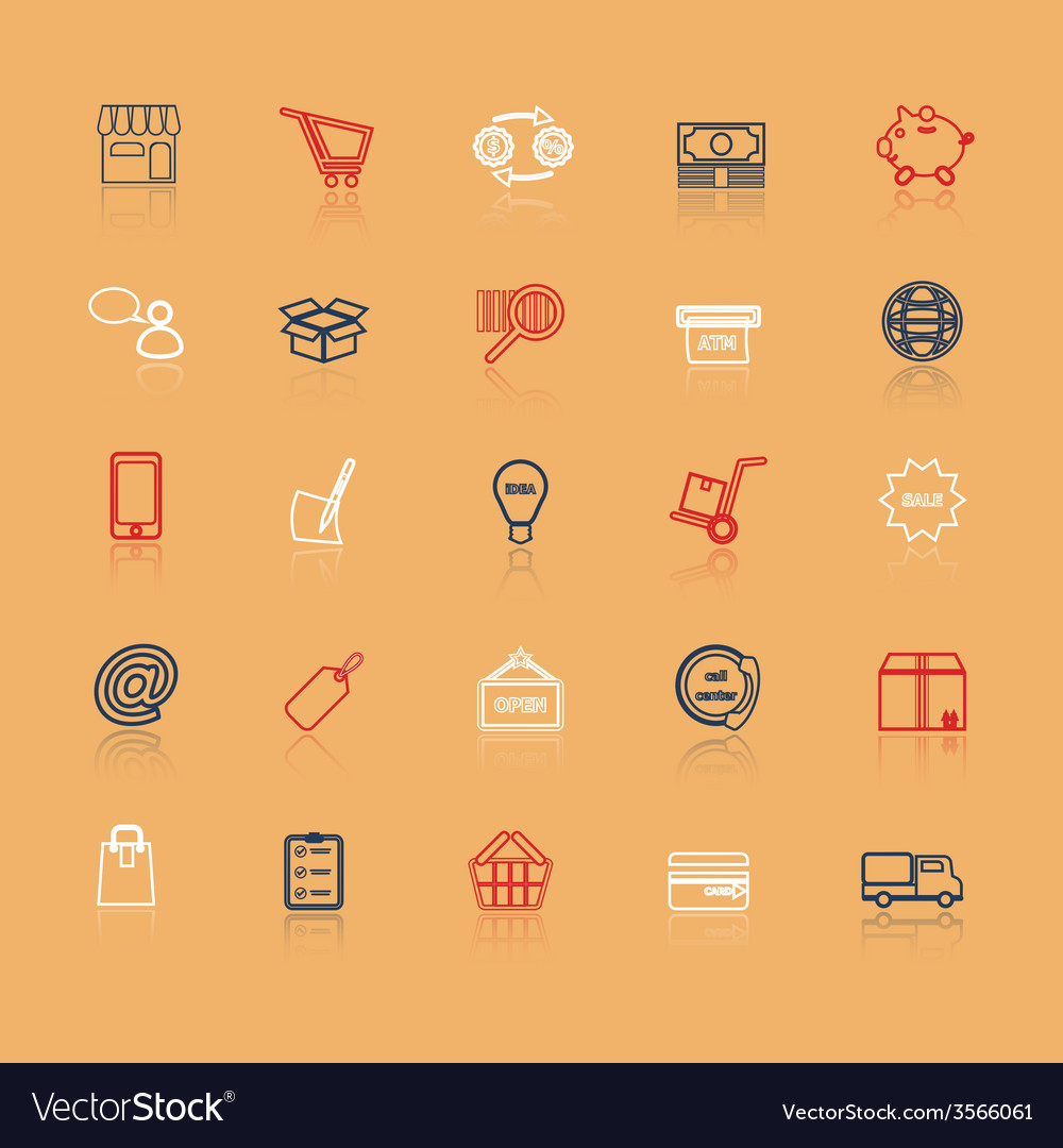 Internet entrepreneur line icons with reflect vector | Price: 1 Credit (USD $1)
