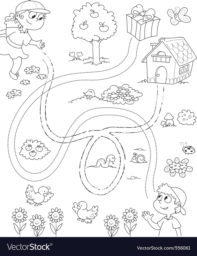 Maze game for children vector | Price: 1 Credit (USD $1)
