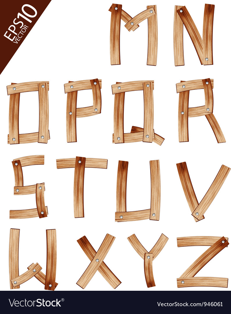 Old grunge wooden alphabet vector | Price: 1 Credit (USD $1)