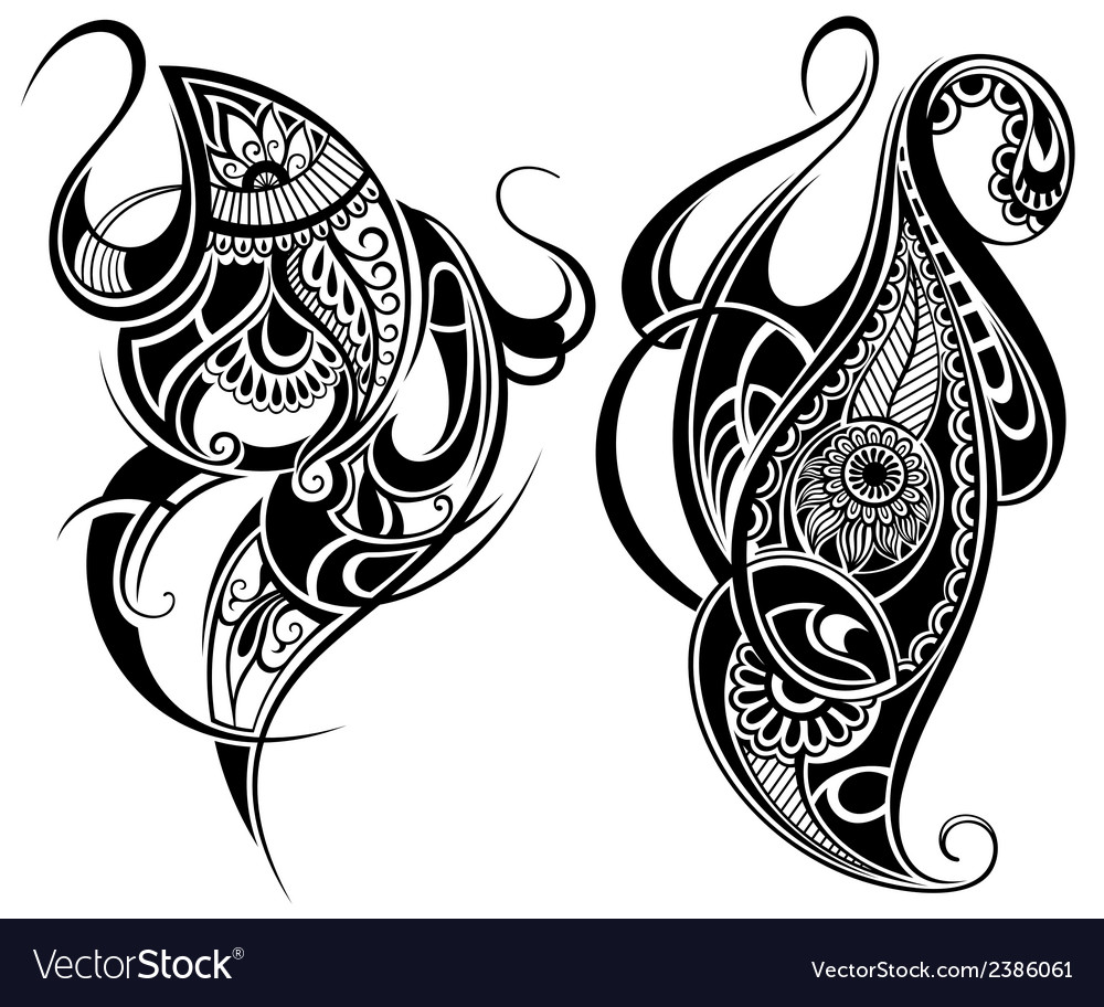 Paisley elements vector | Price: 1 Credit (USD $1)