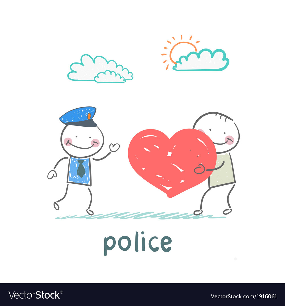 Police listen to a man in love vector | Price: 1 Credit (USD $1)