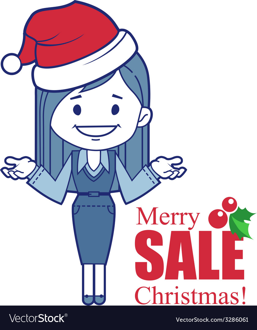 Promotional banner with christmas character girl vector | Price: 1 Credit (USD $1)