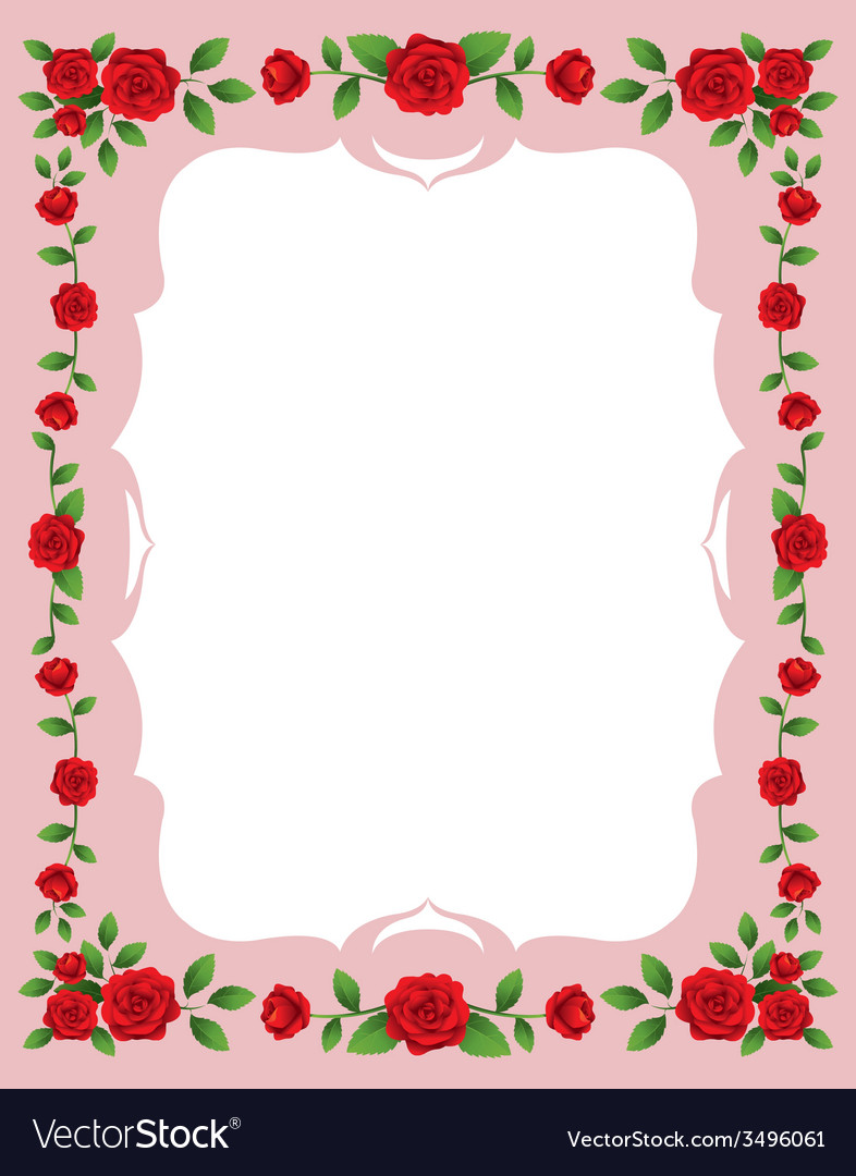 Red roses frame and border vector | Price: 1 Credit (USD $1)
