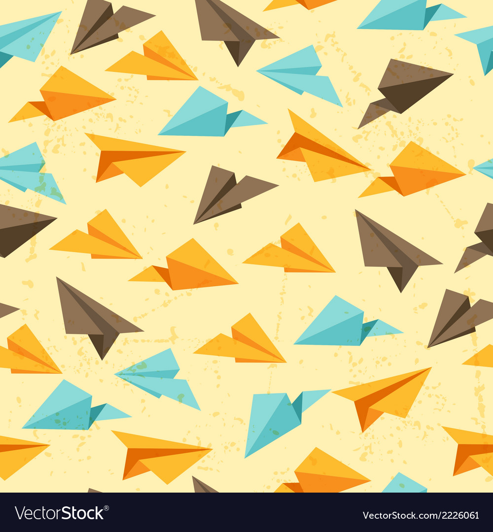 Seamless pattern of paper planes in flat design vector | Price: 1 Credit (USD $1)