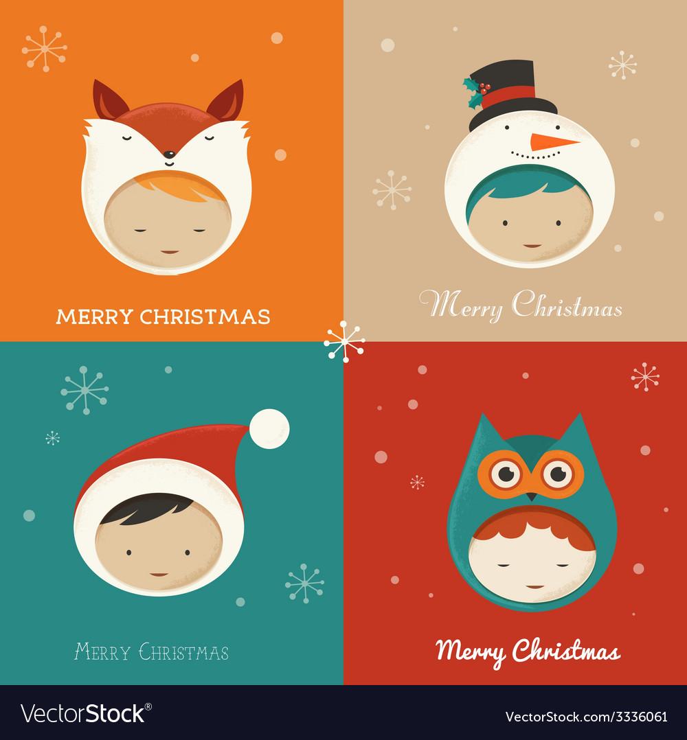 Set of cute xmas cards vector | Price: 1 Credit (USD $1)