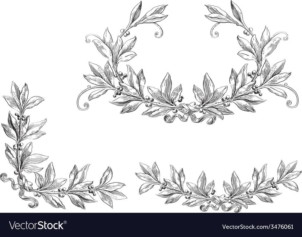 Set of laurel wreath vector | Price: 1 Credit (USD $1)