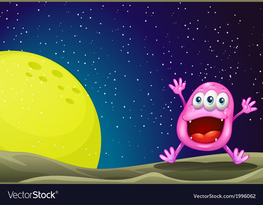 A monster near the moon vector | Price: 3 Credit (USD $3)