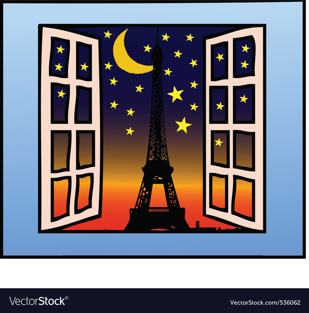 A window on the eiffel tower vector | Price: 1 Credit (USD $1)
