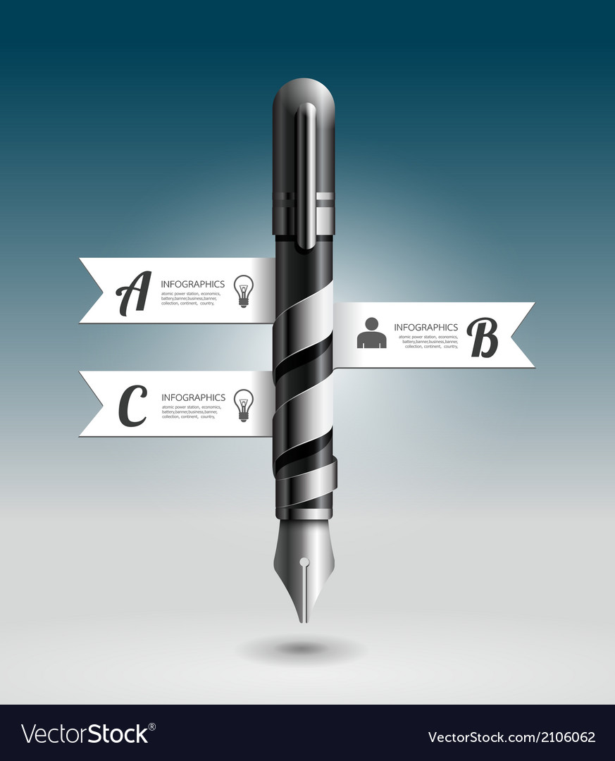Abstract 3d ink pen infographic design vector | Price: 1 Credit (USD $1)