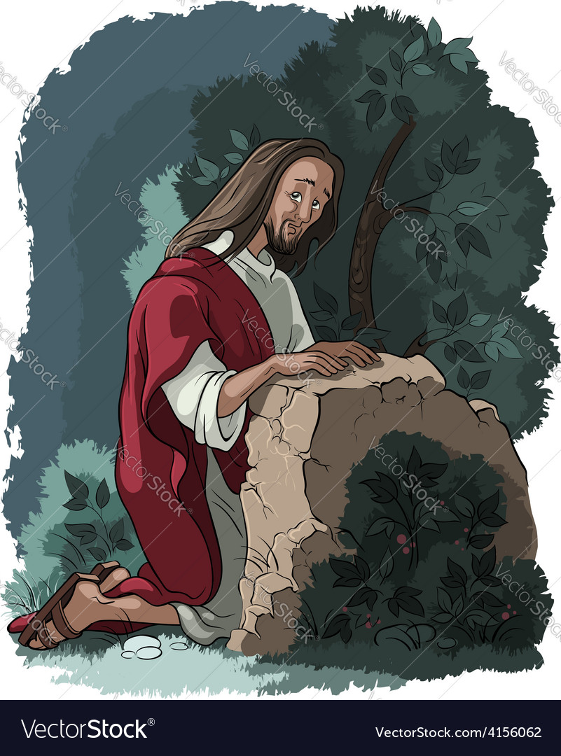Agony in the garden jesus in gethsemane scene vector | Price: 5 Credit (USD $5)