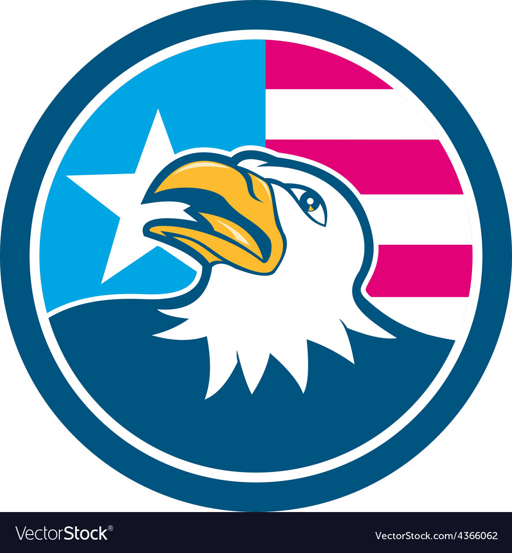 American bald eagle head flag side cartoon vector | Price: 1 Credit (USD $1)
