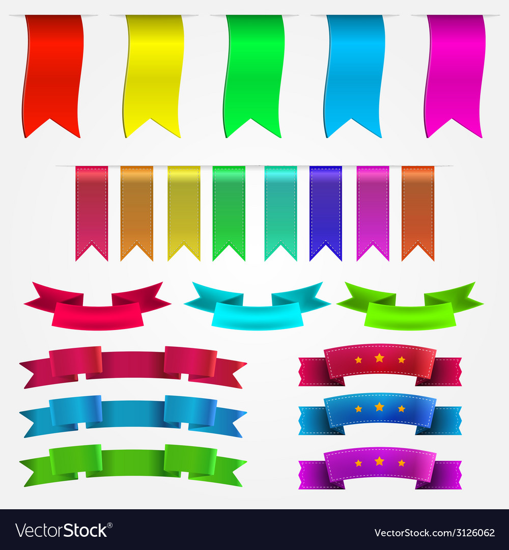 Colored ribbons set vector | Price: 1 Credit (USD $1)
