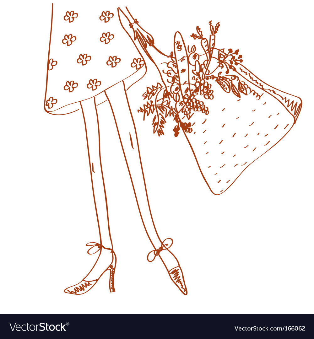 Girl with shopping bag vector | Price: 1 Credit (USD $1)