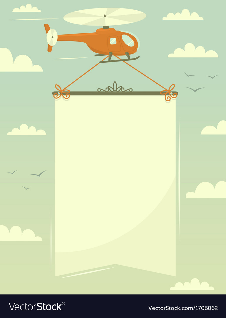 Helicopter with banner vector | Price: 1 Credit (USD $1)
